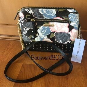 NWT Madden Girl mgbridge black floral crossbody